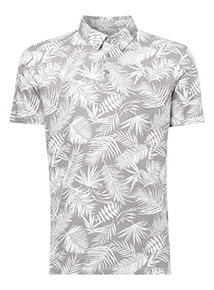 Taupe Leaf Print Polo Shirt