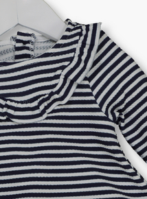 Navy Ponte Striped Dress With Leggings (0-24 months)