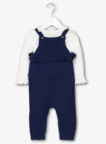 Navy Knitted Romper & Body Set (0-24 months)