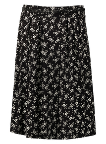 Online Exclusive Black Floral Jersey Skirt