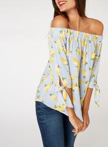 Lemon Print Bardot Top