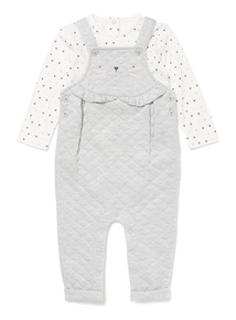 Grey Quilted Cat Dungaree and Bodysuit Set (0-24 months)