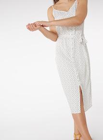 Monochrome Polkadot Buttoned Cami Midi Dress