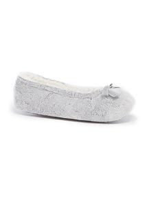 Grey Velour Ballerina Slippers