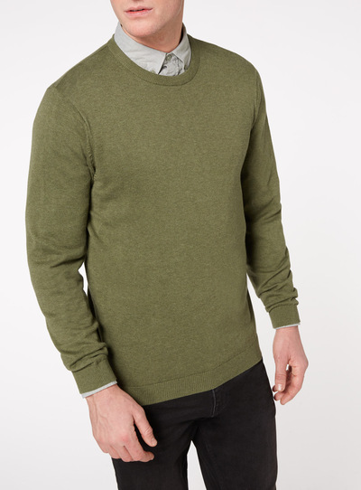 Olive Green Crew Neck Jumper