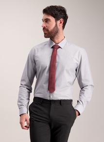 Blue Striped Easy Iron Cotton Rich Shirt & Tie Set