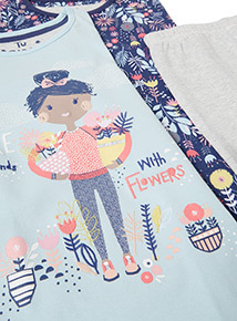 2 Pack Multicoloured Friends With Flowers Pyjamas (1.5-12 years)