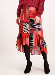 Multicoloured Striped Asymmetrical Skirt