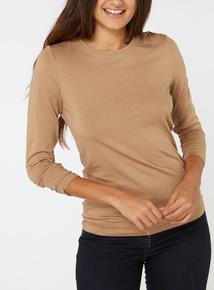 Online Exclusive Brown Long Sleeve Top