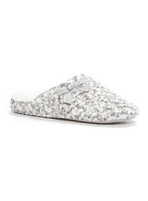 Grey Popcorn Wedge Mule Slippers