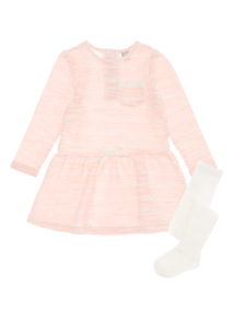 Girls Pink Textured Knitted Dress (9 months-6 years)