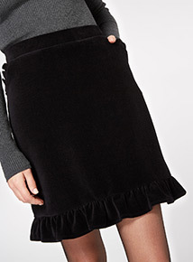 Corduroy Frill Hem Mini Skirt