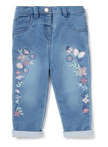 Denim Floral Embroidered Jeans (0-24 months)