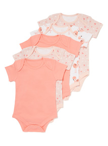 5 Pack Multicoloured Flamingo Short Sleeve Bodysuits (Newborn-36 months)