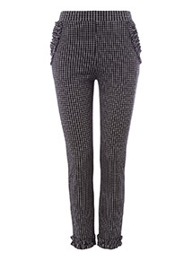 Monochrome Pull On Window Check Frill Trousers