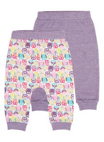 Girls Purple Owl Jogging Bottoms 2 Pack (0-24 months)