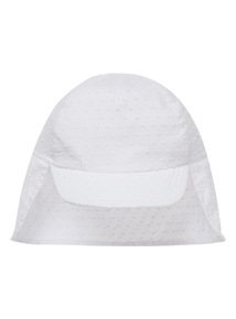 White Broderie Keppie Hat (0 - 2 years)