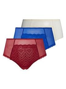 3 Pack Multicoloured Galloon Lace Mesh Midi Brief