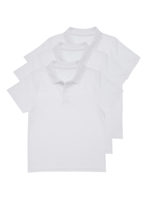 Unisex White Bionic Cotton Polo Tops 3 Pack (2-12 Years)