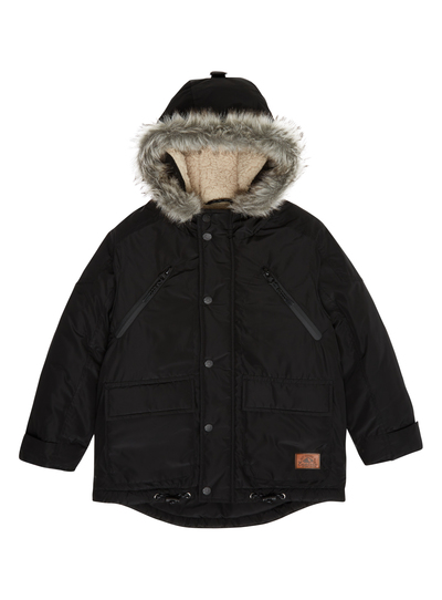 4bd6bcce9db99 Kids Boys Black Parka Jacket (3-12 years)