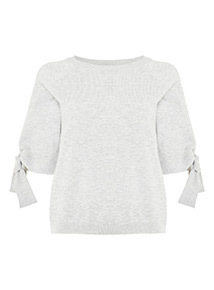 Grey Knot Sleeve Top