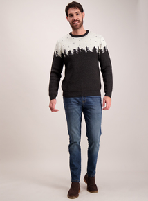 Stone & Black Snow Scene Crew Neck Jumper