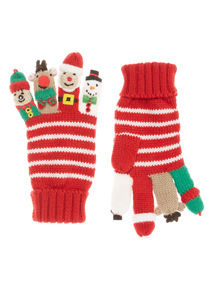 Red Christmas Finger Puppet Gloves (2-10 years)
