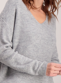Grey Deep V-Neck Jumper