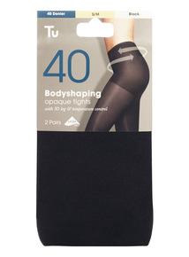 Black 40 Denier Body Control Tights 2 Pack