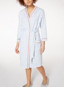 Blue Jersey Stripe Dessing Gown