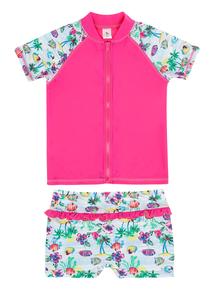Girls Multicoloured Tropical Tankini 3 Piece (3-12 years)