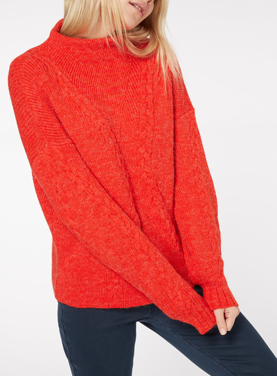 Balloon Sleeve Cable Knit Jumper