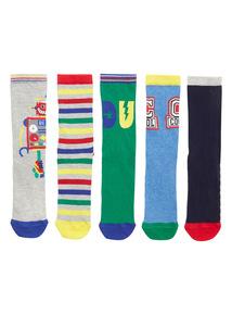 Multicoloured 5 Pack Robot Socks (3-5 years)