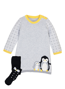 Grey Knitted Penguin Dress & Tights Set (0-24 months)