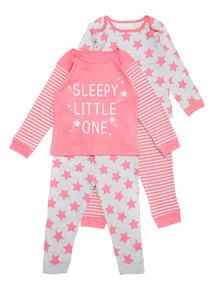 2 Pack Pink Sleepy Pyjamas (0-24 months)