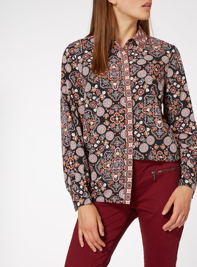 Multicoloured Oriental Print Shirt