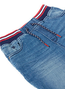 Blue Denim Ribbed Waist Shorts (3-14 years)
