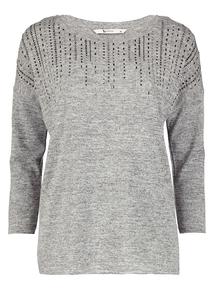 Grey Sequin Detail Long Sleeve Top
