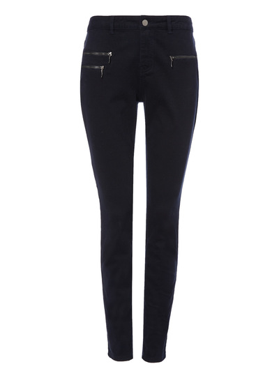 Navy Zip Detail Trousers