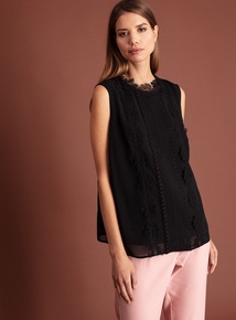 Online Exclusive Premium Lace Panel Sleeveless Blouse