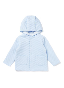 Blue Quilted Hoodie  (0-24 months)