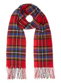 Red Woven Checked Scarf