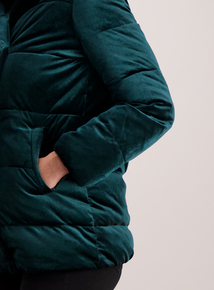 Online Exclusive Emerald Green Velvet Quilted Jacket