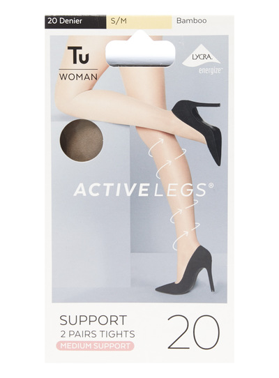 a110db5b539 Womens 2 Pack 20 Denier Medium Support Tights