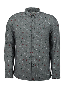 Grey Christmas Print Shirt