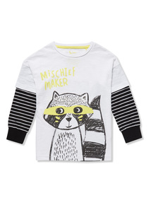 White Racoon Print Long Sleeve T-Shirt (9 months- 6 years)