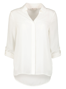 Online Exclusive Cream Roll Sleeve Blouse