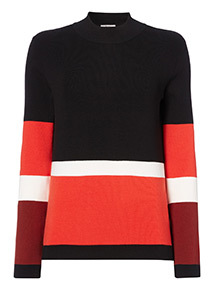 Colourblock Tie-Sleeve Jumper