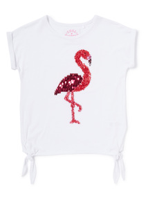 Red Sequin Flamingo Top (3-14 years)