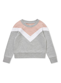 Grey and Pink Chevron Sweatshirt (3-14 years)